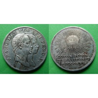 Ferdinand V - Stříbrný korunovační žeton 1830