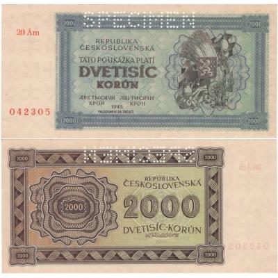 2000 korun 1945 UNC