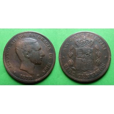 Španělsko - 10 centimes 1878 OM, Alfonso XII.