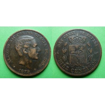 Španělsko - 10 centimes 1879 OM, Alfonso XII.