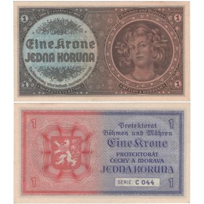 1 koruna 1940 neperforovaná, aUNC