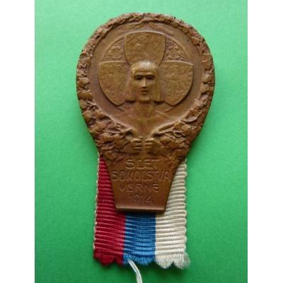 Rakousko Uhersko - odznak Slet sokolstva v Brně 1914