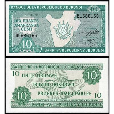 Burundi- bankovka 10 francs 2001 UNC