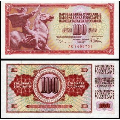 Jugoslávie - bankovka 100 dinara 1965 UNC