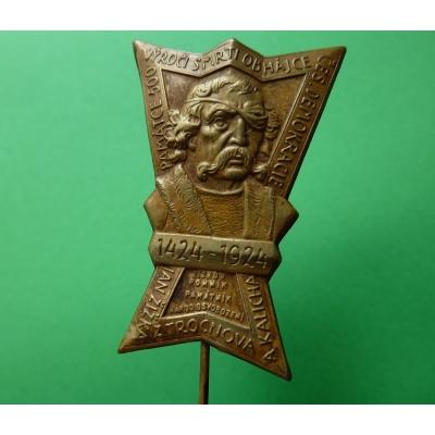 Czechoslovakia - badge of the 500th anniversary of the death of Jan Zizka 1924