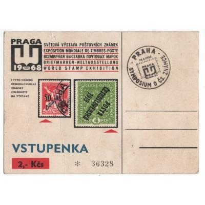 Vstupenka na výstavu poštovních známek Praga 1968