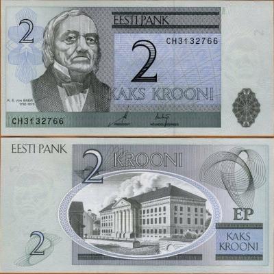 Estonsko - bankovka 2 krooni 2006 UNC