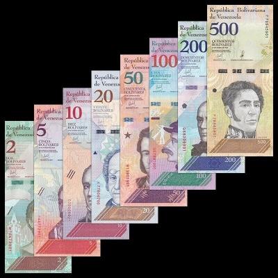 Venezuela - sada 8 bankovek 2, 5, 10, 20, 50, 100, 200, 500 Bolivares, 2018 UNC