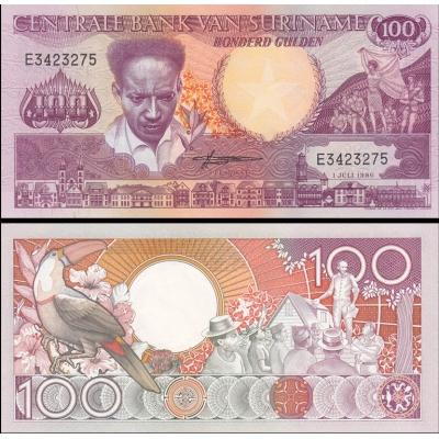 Surinam - bankovka 100 Gulden 1986 UNC