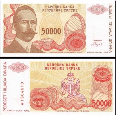 Bosna a Hercegovina - bankovka 50 000 Dinara, 1993 UNC