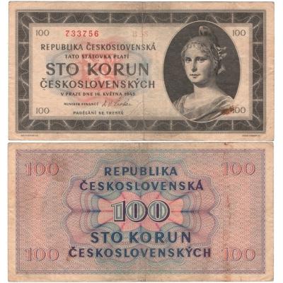 Tschechoslowakei - 100 Kronen-Banknote 1945