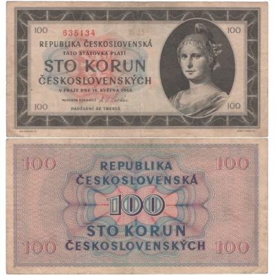 100 korun 1945, neperforovaná, série B