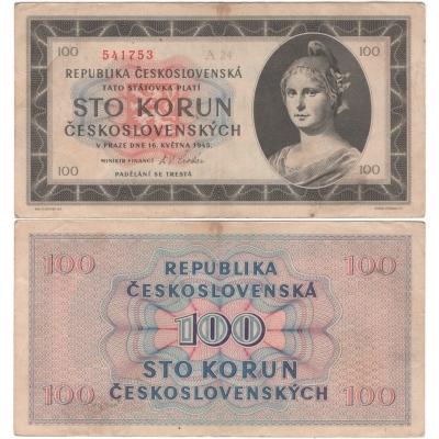 100 korun 1945, neperforovaná, série A
