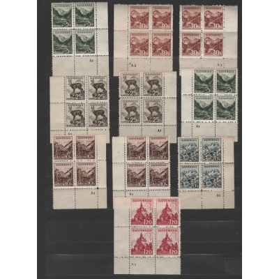 Slovenský štát - partie aršíků známek s deskovými značkami