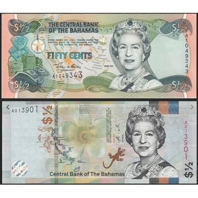 Bahamy - sada 2x bankovka 1/2 dolaru 2001/2018 UNC
