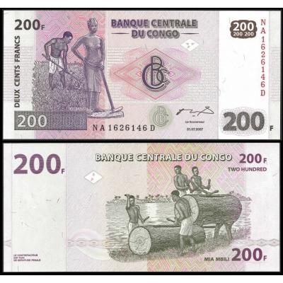 Kongo - bankovka 200 francs 2007 UNC