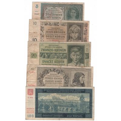 Sada5 bankovek Protektorát Čechy a Morava - 5, 10, 20, 50 a 100 korun