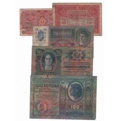 Sada5 bankovek Rakousko-Uherska bez přetisku - 1, 2, 10, 20 a 100 korun