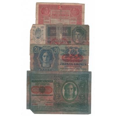 Sada 4 bankovek Rakousko-Uherska, špatný stav