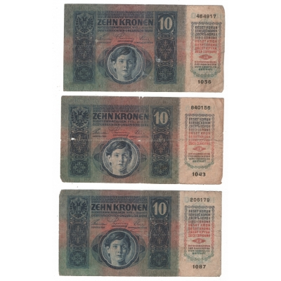 3x bankovka Rakousko Uhersko - 10 korun 1915 bez přetisku
