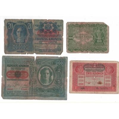 4 x bankovka Rakousko-Uhersko/Rakousko, špatný stav