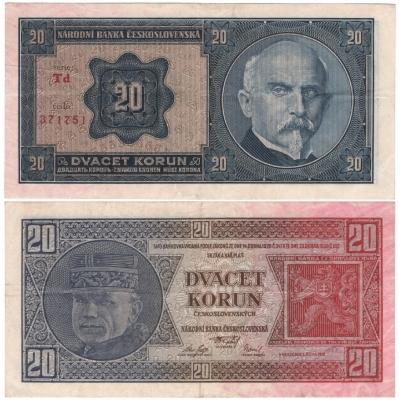 20 korun 1926 neperforovaná, série Td