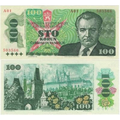 100 korun 1989, Klement Gottwald, série A01 UNC