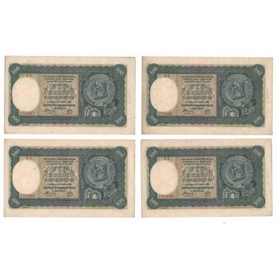 Slovenský štát - 4x bankovka 100 korun 1940, série A2, po sobě jdoucí čísla