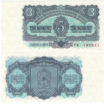 3 koruny 1961 UNC, série VB