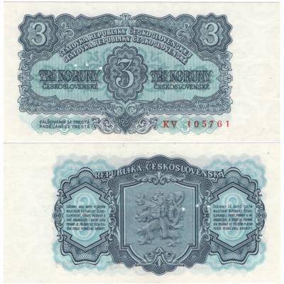 3 koruny 1953, série KV, UNC, 3 MD