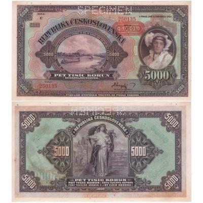 5000 korun 1920, přetisk 1943, série C
