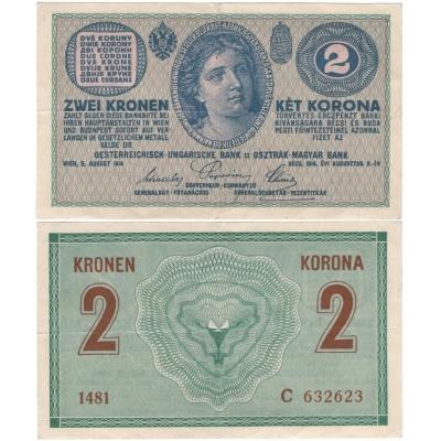 Österreich Ungarn - 2 Krone Banknote, 1914, Serie C