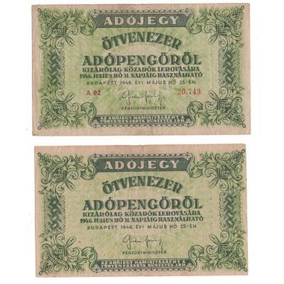 Maďarsko - 2x bankovka 50 000 AdoPengo 1946, obě varianty