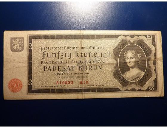 50 korun 1940 A10 neperforováno