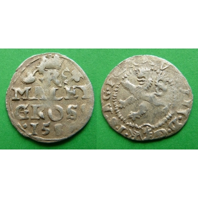 Rudolf II. - stříbrná mince Malý groš 158x, Kutná Hora
