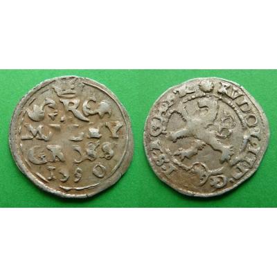 Rudolf II. - stříbrná mince Malý groš 1590, Kutná Hora