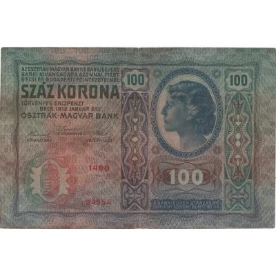100 korun 1912 bez přetisku