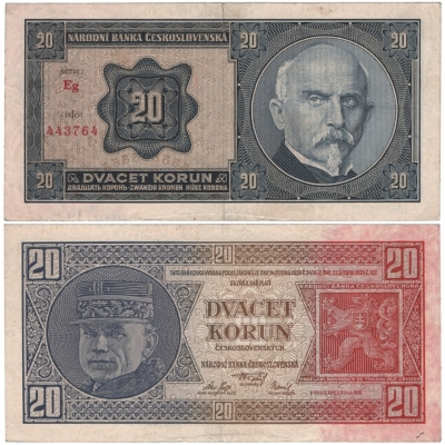 20 korun 1926 neperforovaná, série Eg