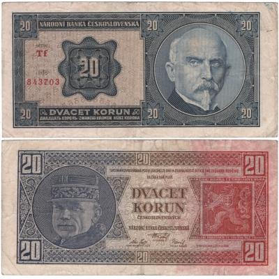20 korun 1926 neperforovaná, série Tf