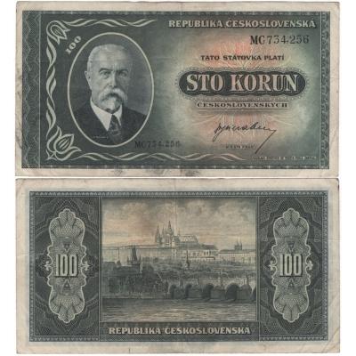 Tschechoslowakei - 100 Kronen-Banknote 1945 T. G. Masaryk