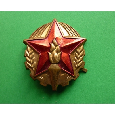 Czechoslovakia - fireman's badge on his cap, the original