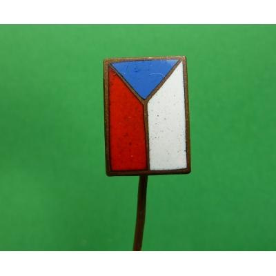 Československá vlajka smalt, první republika, odznak jehla