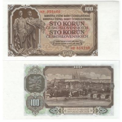 100 korun 1953 UNC, série HH