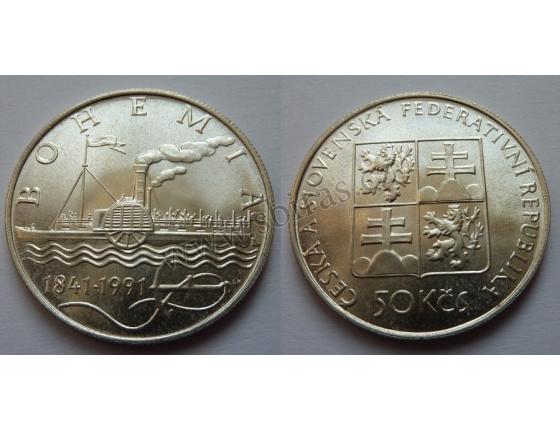 50 Koruna 1991 - 150. výročí zahájení plavby prvního českého parníku Bohemia