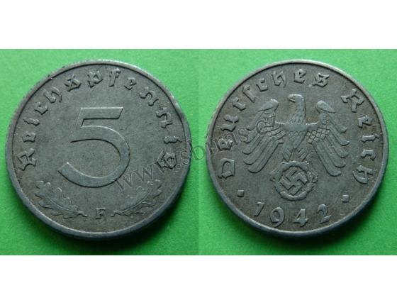 Nacistické Německo - 5 pfennig 1942 F