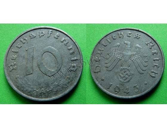 Nacistické Německo - 10 pfennig 1943 A