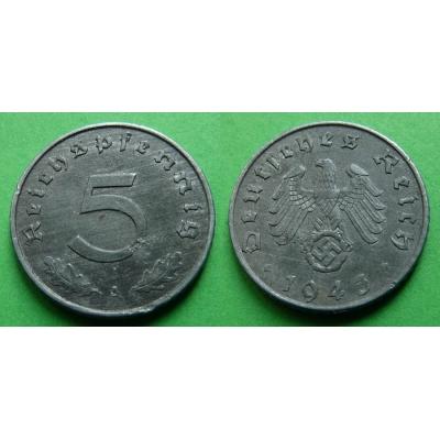 Nacistické Německo - 5 pfennig 1943 A