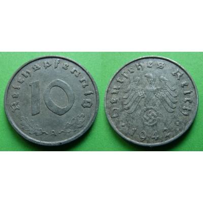 Nacistické Německo - 10 pfennig 1942 A