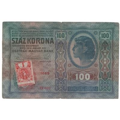 100 korun 1912, stříhaný kolek převrácený