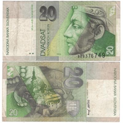 Slovensko - bankovka 20 korun 1993, série B